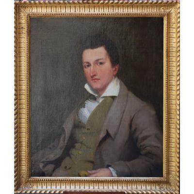 Ecole Anglo-américaine, Portrait De Jeune Homme.