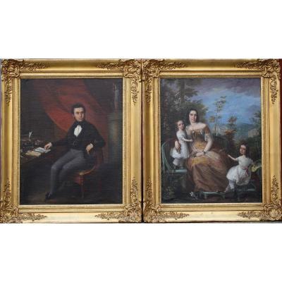 Ecole Italienne Du XIXème, Paire De Portraits De Famille.