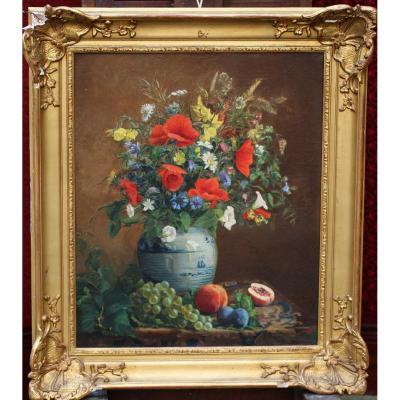 """Ecole Française du XIX """"Nature morte aux fleurs et aux fruits sur un entablement."""