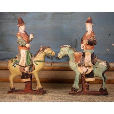 Chine Dynastie Ming 1348-1643, Deux Cavaliers Musiciens.