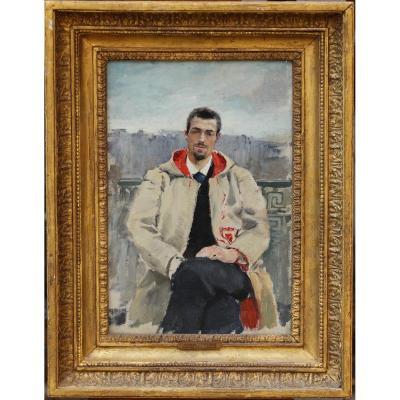 Alfred Léopold Stevens 1823-1906 Attribué à, Jeune Homme à La Cape Sur Un Balcon.