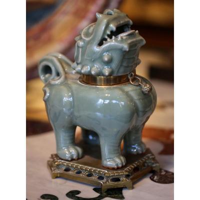 Chine Fin XIXème, Pot Couvert En Forme De Chimère.