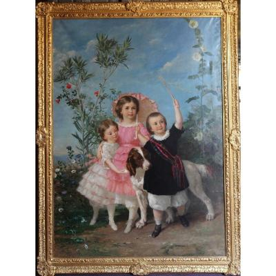 Eugène Faure 1822-1879 Les Trois Soeurs Et Leur Chien, Grande Toile.