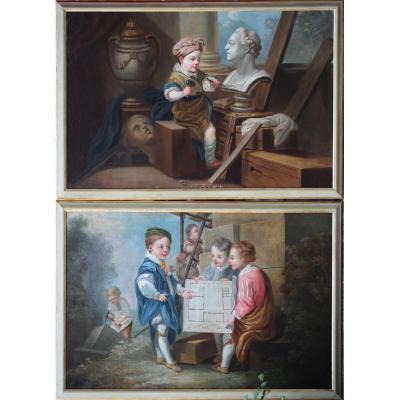 Carl Van Loo 1705-1765 d'Après, l'Architecture Et La Sculpture.