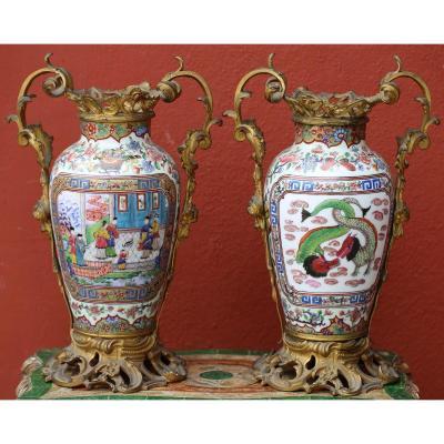 Pair Of Canton Vases, Gilt Bronze Frame Nineteenth Time