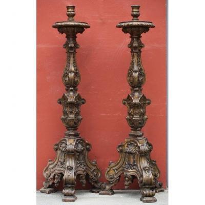 Importante Paire De Torchères, Italie époque XVIIème
