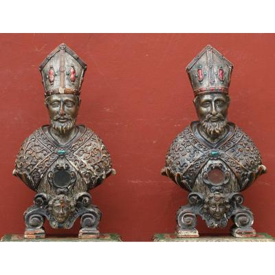 Pair Of Reliquary Busts Italy XVIII