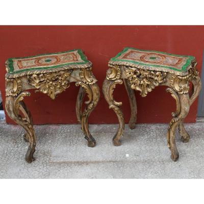 Paire De Petites Tables Consoles Style Louis XV, Italie Fin XVIIIème.