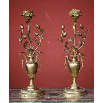 Pair Of Candlesticks With Carnations Louis XVI