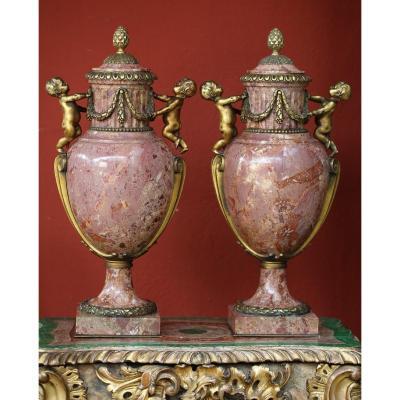 Pair Of Louis XVI Style Covered Vases Circa 1880