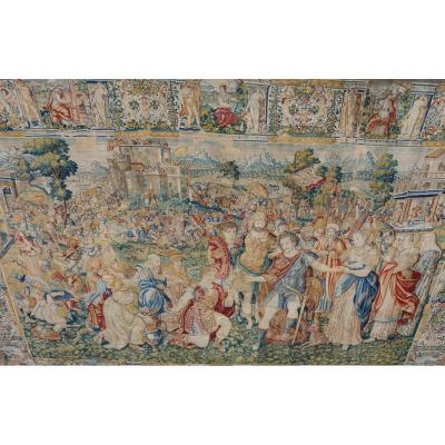 Flandres, Bruxelles XVIème,  Tapisserie Laine Et Soie, Alexandre Reçoit Le Tribut Des Vaincus.