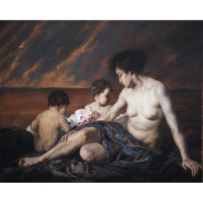 """Pierre Van Hamme """"naked Female And Putti"""""""