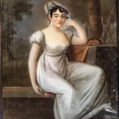 Portrait de mademoiselle Mars, fixé sous verre, 1810