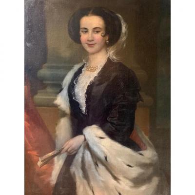 Portrait d'une femme au manteau d'hermine, XIX siècle