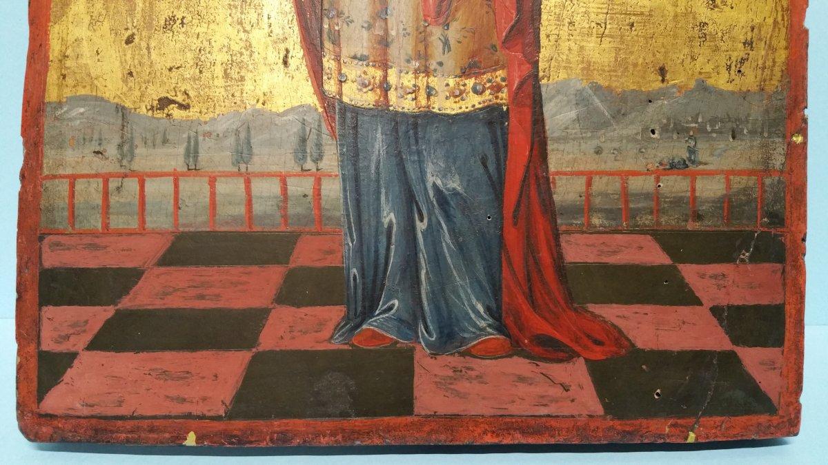 Icone Représentant Une Sainte (eulalia?), XIX Siecle-photo-4
