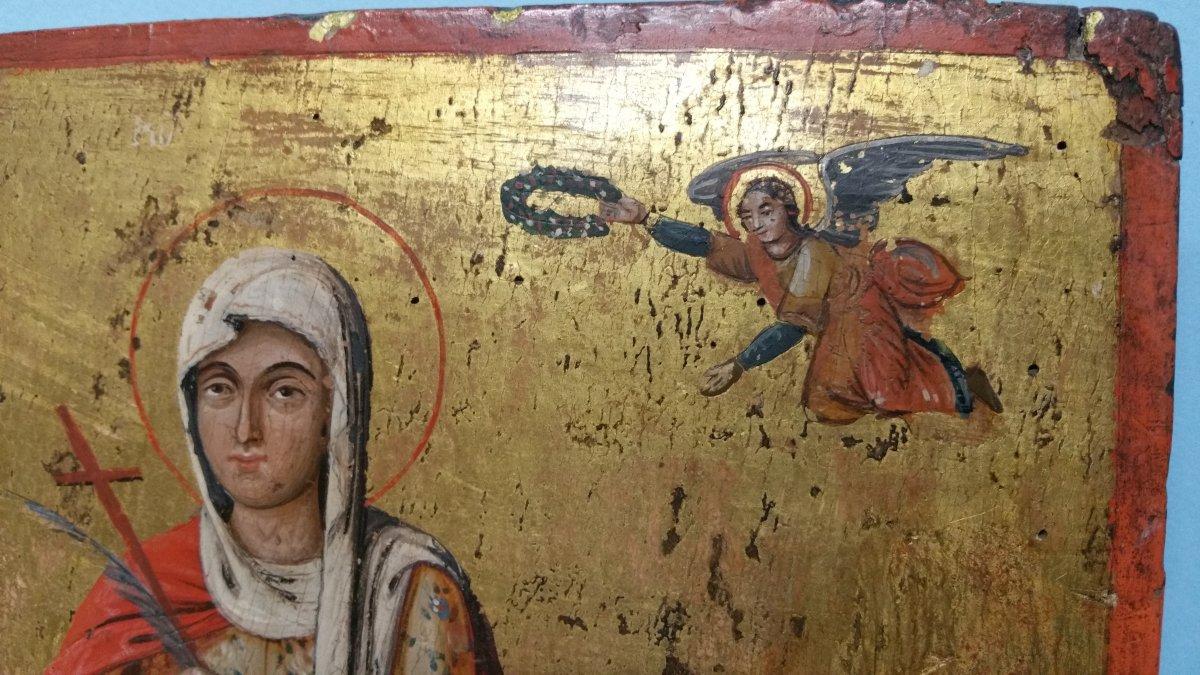 Icone Représentant Une Sainte (eulalia?), XIX Siecle-photo-2