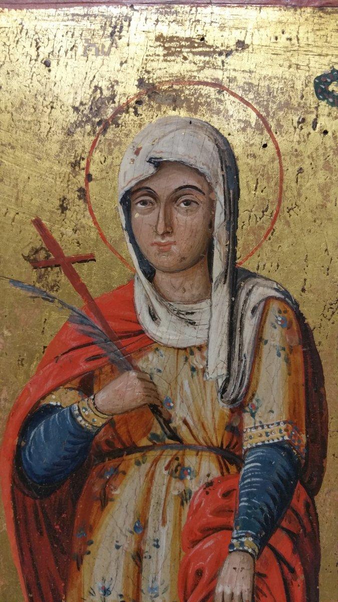 Icone Représentant Une Sainte (eulalia?), XIX Siecle-photo-3