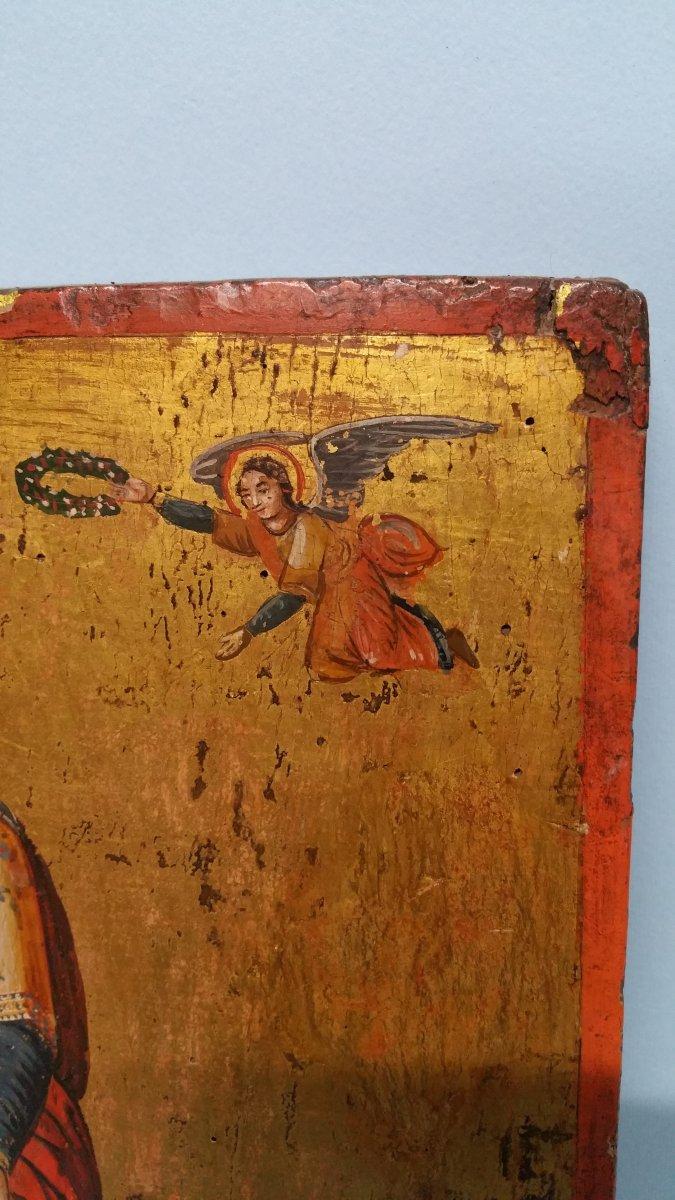 Icone Représentant Une Sainte (eulalia?), XIX Siecle-photo-8
