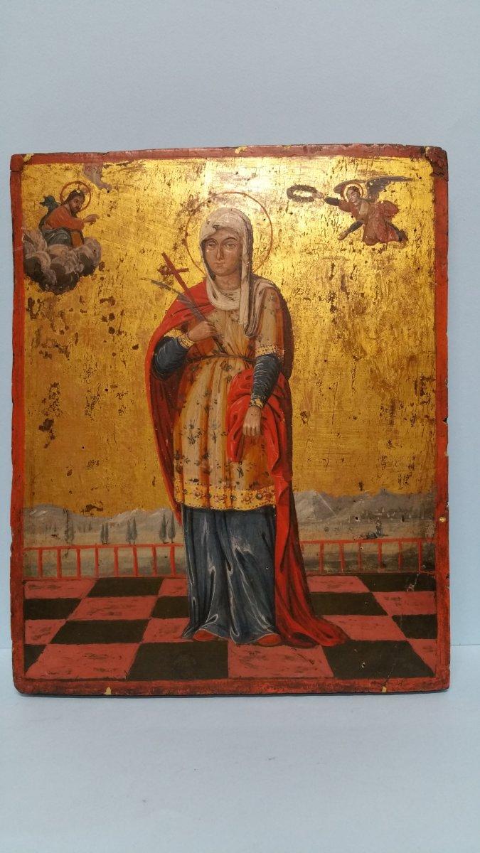 Icone Représentant Une Sainte (eulalia?), XIX Siecle
