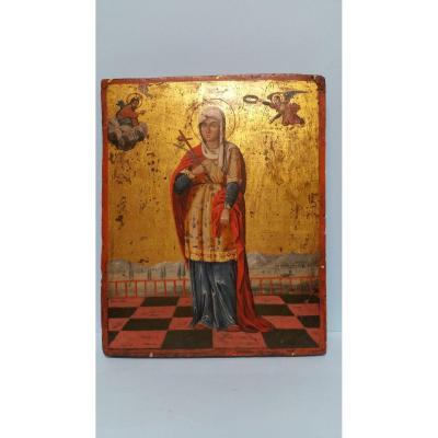 A Russian Icon Of Saint (eulalia ?). XIX Century