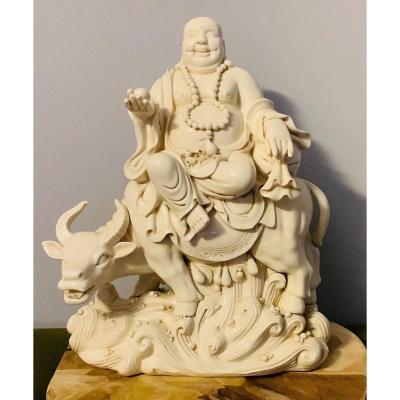 Blanc de Chine - Bouddha souriant sur un buffle