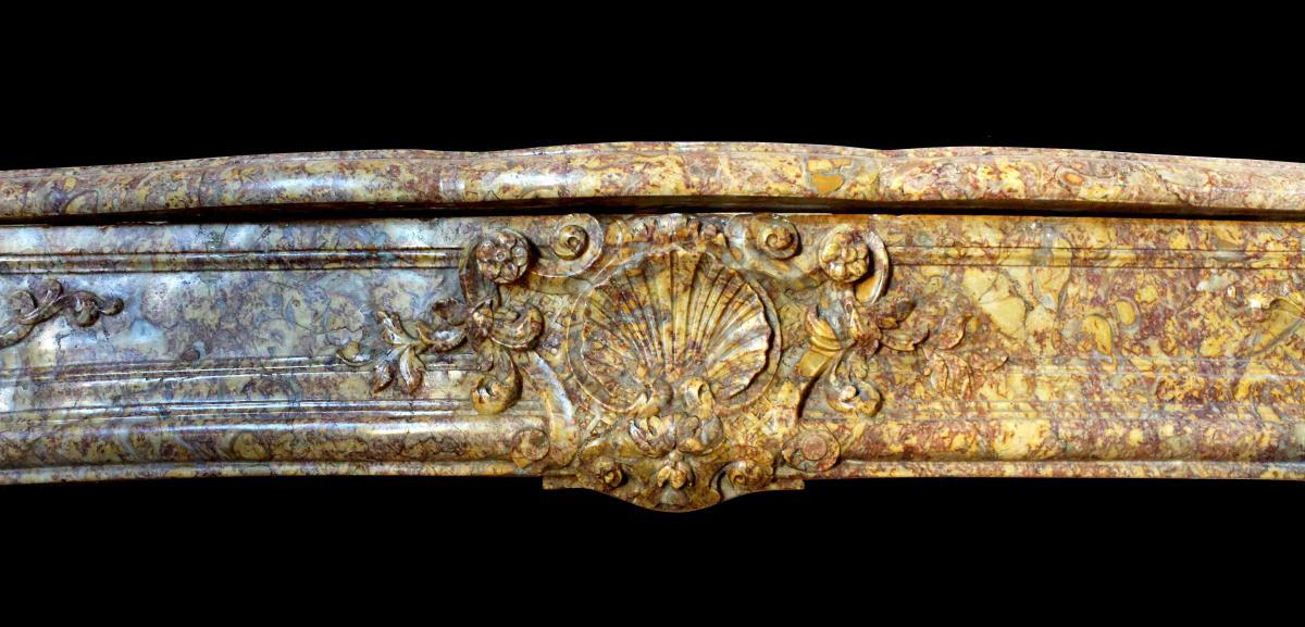 Cheminée Régence En Marbre Brocatelle d'Espagne XVIIIe Siècle-photo-3