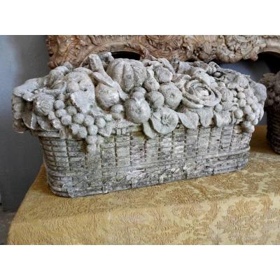 Pair Of Carved Stone Baskets