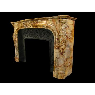 Louis XV Marble Fireplace Sarrancolin Nineteenth Century