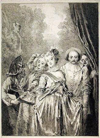 François Boucher  d'après Watteau, La Troupe italienne.